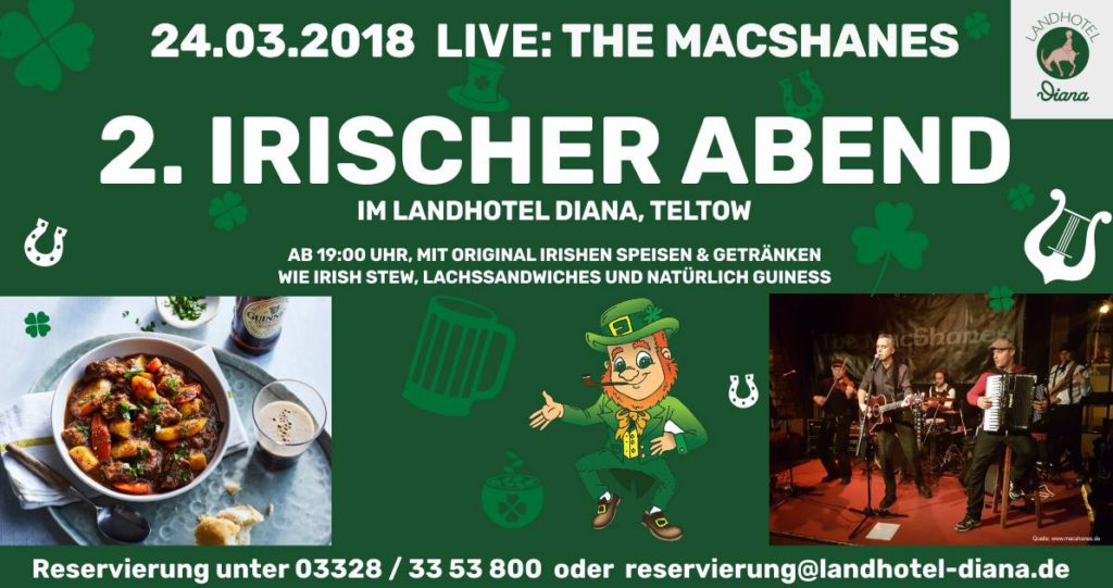 The MacShanes 2. Irischer Abend Teltow Landhotel Diana 24.03.2018